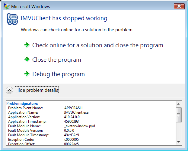 how to fix imvu crash